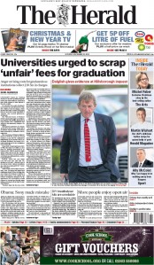The Herald (UK) Newspaper Front Page for 20 December 2014