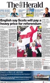 The Herald (UK) Newspaper Front Page for 20 August 2014
