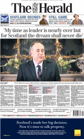 The Herald (UK) Newspaper Front Page for 20 September 2014