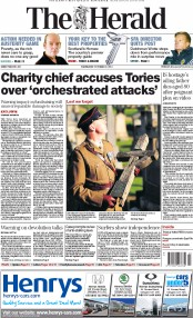The Herald (UK) Newspaper Front Page for 22 October 2014
