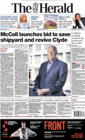 The Herald (UK) Newspaper Front Page for 22 August 2014