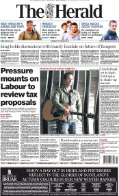 The Herald (UK) Newspaper Front Page for 23 October 2014