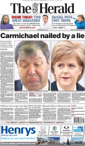 The Herald (UK) Newspaper Front Page for 23 May 2015