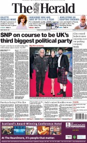 The Herald (UK) Newspaper Front Page for 23 September 2014