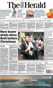 The Herald (UK) Newspaper Front Page for 24 October 2014
