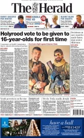 The Herald (UK) Newspaper Front Page for 24 November 2014
