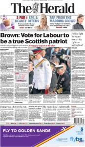 The Herald (UK) Newspaper Front Page for 25 April 2015