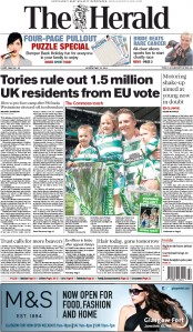 The Herald (UK) Newspaper Front Page for 25 May 2015