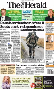 The Herald () Newspaper Front Page for 26 April 2013