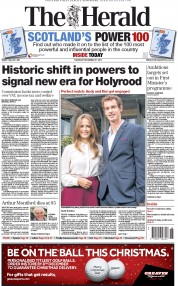 The Herald (UK) Newspaper Front Page for 27 November 2014