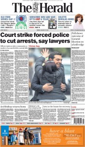 The Herald (UK) Newspaper Front Page for 27 January 2015