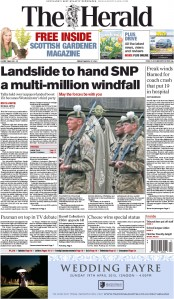The Herald (UK) Newspaper Front Page for 27 March 2015