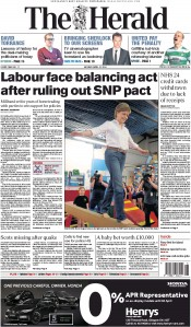 The Herald (UK) Newspaper Front Page for 27 April 2015
