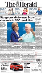 The Herald (UK) Newspaper Front Page for 27 August 2015