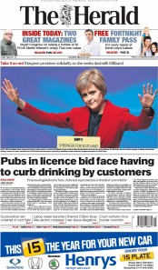 The Herald (UK) Newspaper Front Page for 28 March 2015