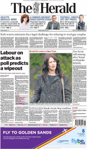 The Herald (UK) Newspaper Front Page for 28 April 2015