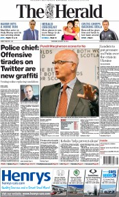 The Herald (UK) Newspaper Front Page for 28 August 2014