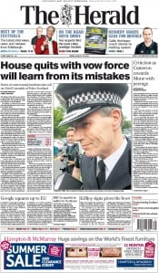The Herald (UK) Newspaper Front Page for 28 August 2015