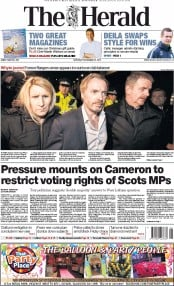 The Herald (UK) Newspaper Front Page for 29 November 2014