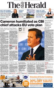 The Herald (UK) Newspaper Front Page for 29 August 2014