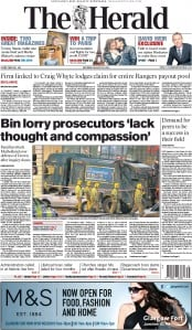The Herald (UK) Newspaper Front Page for 29 August 2015