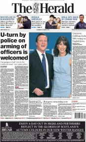 The Herald (UK) Newspaper Front Page for 2 October 2014