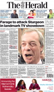 The Herald (UK) Newspaper Front Page for 2 April 2015