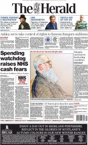 The Herald (UK) Newspaper Front Page for 30 October 2014
