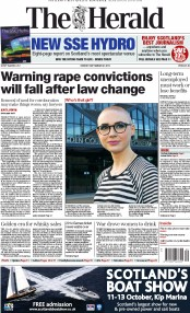 Glasgow Herald Newspaper Front Page (UK) for 30 September 2013