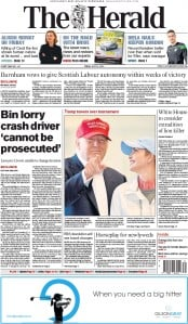 The Herald (UK) Newspaper Front Page for 31 July 2015