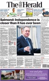 The Herald (UK) Newspaper Front Page for 3 September 2014