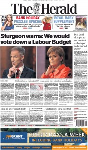 The Herald (UK) Newspaper Front Page for 4 May 2015