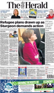 The Herald (UK) Newspaper Front Page for 4 September 2015