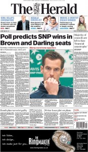 The Herald (UK) Newspaper Front Page for 5 March 2015