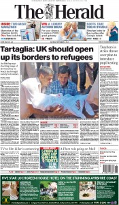 The Herald (UK) Newspaper Front Page for 5 September 2015
