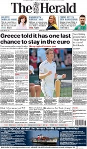 The Herald (UK) Newspaper Front Page for 7 July 2015