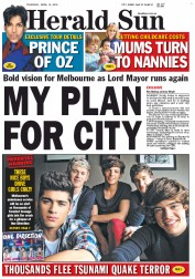 Herald Sun (Australia) Newspaper Front Page for 12 April 2012