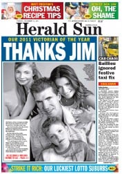 Herald Sun (Australia) Newspaper Front Page for 13 December 2011