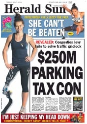 Herald Sun Newspaper Front Page (Australia) for 16 August 2012