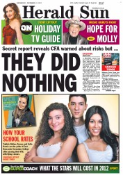 Herald Sun (Australia) Newspaper Front Page for 21 December 2011