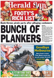 Herald Sun (Australia) Newspaper Front Page for 22 February 2012