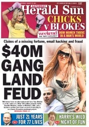 Herald Sun Newspaper Front Page (Australia) for 25 August 2012