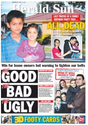 Herald Sun Newspaper Front Page (Australia) for 2 May 2012