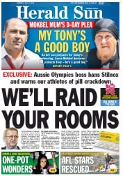 Herald Sun Newspaper Front Page (Australia) for 3 July 2012