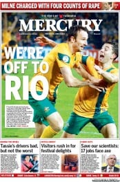 Hobart Mercury (Australia) Newspaper Front Page for 18 June 2013