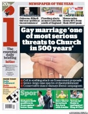 I Newspaper Newspaper Front Page (UK) for 12 June 2012