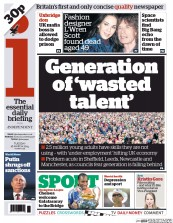 I Newspaper (UK) Newspaper Front Page for 18 March 2014