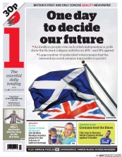 I Newspaper (UK) Newspaper Front Page for 18 September 2014