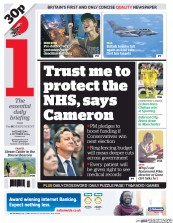 I Newspaper (UK) Newspaper Front Page for 1 October 2014