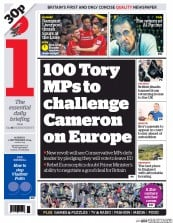 I Newspaper (UK) Newspaper Front Page for 1 September 2014
